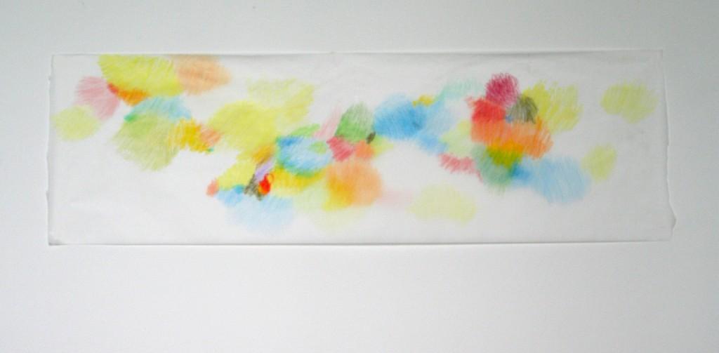 Buntstift auf Transparentpapier, o.T., 2012, 107 x 33 cm