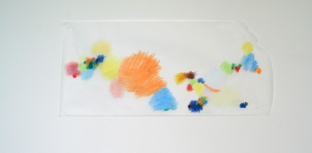 Buntstift auf Transparentpapier, o.T., 2012, 71 x 33 cm