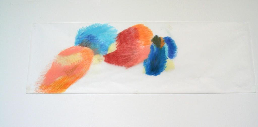 Buntstift auf Transparentpapier, o.T., 2012, 104 x 33 cm
