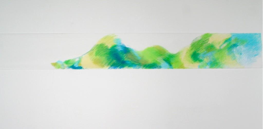 Buntstift auf Transparentpapier, o.T., 2012, 245 x 33 cm