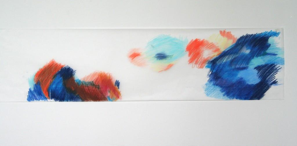 Buntstift auf Transparentpapier, o.T., 2012, 133 x 33 cm