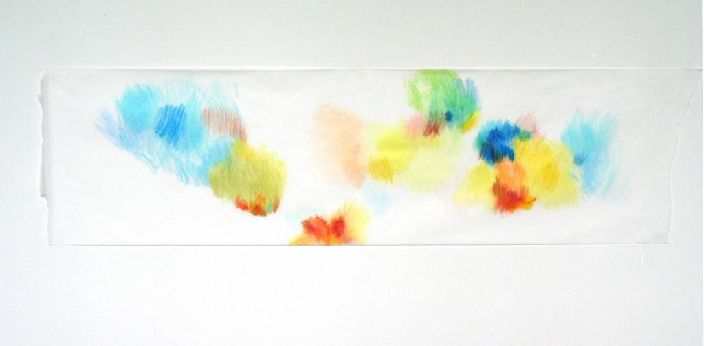 Buntstift auf Transparentpapier, o.T., 2012, 119 x 33 cm
