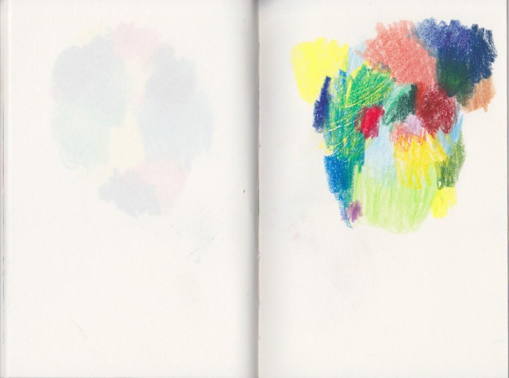 Buch, 2012, Buntstift auf Papier, 21,5 x 16,5 cm