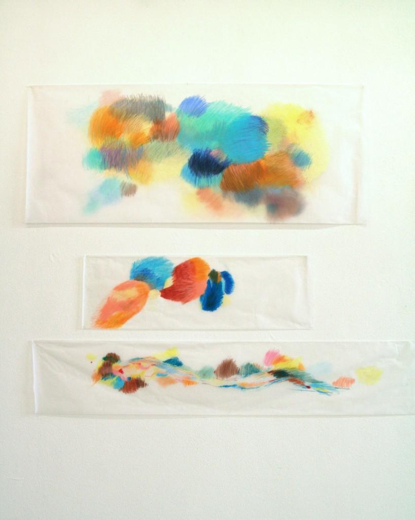 Buntstift auf Transparentpapier, Diplomausstellung AdBK München, 2013