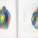 Zeichenbuch Frühjahr 2013, Bild 10, Buntstift auf Papier, 34 x 16 cm