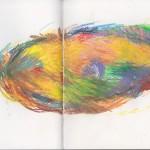 Zeichenbuch Frühjahr 2013, Bild 11, Buntstift auf Papier, 34 x 16 cm
