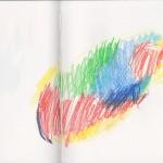 Zeichenbuch Frühjahr 2013, Bild 14, Buntstift auf Papier, 34 x 16 cm