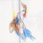 Zeichenbuch Frühjahr 2013, Bild 16, Buntstift auf Papier, 34 x 16 cm