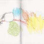 Zeichenbuch Frühjahr 2013, Bild 18, Buntstift auf Papier, 34 x 16 cm