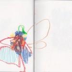 Zeichenbuch Frühjahr 2013, Bild 20, Buntstift auf Papier, 34 x 16 cm