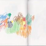 Zeichenbuch Frühjahr 2013, Bild 22, Buntstift auf Papier, 34 x 16 cm