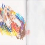 Zeichenbuch Frühjahr 2013, Bild 23, Buntstift auf Papier, 34 x 16 cm