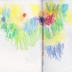 Zeichenbuch Frühjahr 2013, Bild 24, Buntstift auf Papier, 34 x 16 cm