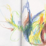 Zeichenbuch Frühjahr 2013, Bild 27, Buntstift auf Papier, 34 x 16 cm