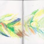 Zeichenbuch Frühjahr 2013, Bild 29, Buntstift auf Papier, 34 x 16 cm