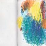 Zeichenbuch Frühjahr 2013, Bild 7, Buntstift auf Papier, 34 x 16 cm