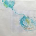 Türkiser Buntstift auf Karo- und Transparentpapier