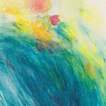 o.T. (in Gedanken an Norbert), Überarbeitung Aquarell (2010) mit Buntstift, Juni 2019, 12 x 16 cm
